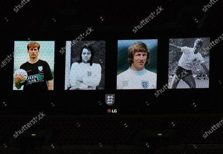 Stock Photo of Remembering four England stars before the match Glen Roeder, Frank Worthington, Colin Bell and Peter Swan