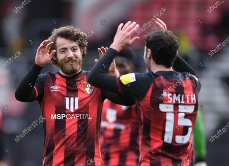 Adam Smith celebrates with Ben Pearson of Bournemouth on Bournemouth's goal in 90th minute 4-1; Vitality Stadium, Bournemouth, Dorset, England; English Football League Championship Football, Bournemouth Athletic versus Coventry City.