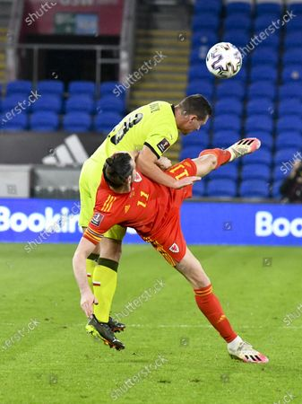 Stock Image of Wayne Hennessey Wales\ brought down by Jan Boril Czech Republic