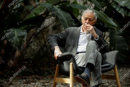 Stock Image of Spanish writter Eduardo Mendoza poses during the presentation of his last novel 'Transfer to Moscow' in Barcelona, Catalonia, Spain, 09 April 2021. It is the third part of his trilogy with the character of Rufo Batalla.