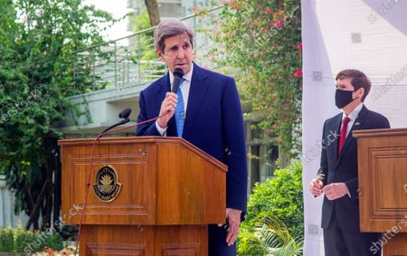 Stock Photo of Special US envoy on climate, John Kerry speaks at a  joint news conference with Bangladesh Foreign Minister Dr AK Abdul Momen in Dhaka, Bangladesh, 09 April 2021. Kerry is expected to invite Prime Minister Sheikh Hasina to attend the Global Leaders Summit on Climate Change hosted by US President Joe Biden on 22 and 23 April.