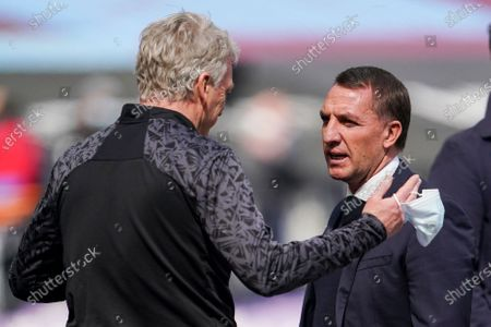 David Moyes West Ham United Manager speaks with Brendan Rogers Leicester City Manager on the sideline before kick off