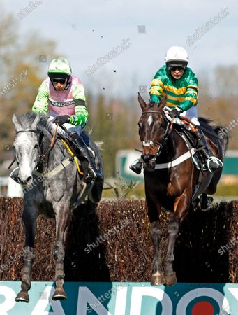 Stock Photo of CHANTRY HOUSE (right, Nico de Boinville) with EMPIRE STEEL (left, Ryan Mania) on his way to winning The Betway Mildmay Novices Chase Aintree