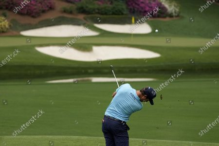 Harris English tees off at the 12th hole during the second round of the Masters golf tournament, in Augusta, Ga