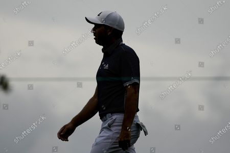 Sergio Garcia, of Spain, walks up the 15th fairway during the second round of the Masters golf tournament, in Augusta, Ga