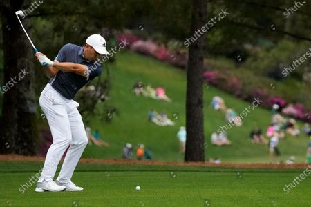 Sergio Garcia, of Spain, hits from the fairway on the 15th hole during the second round of the Masters golf tournament, in Augusta, Ga
