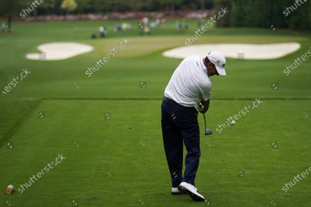 Jose Maria Olazabal, of Spain, hits his tee shot on the fourth hole during the second round of the Masters golf tournament, in Augusta, Ga