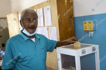 Stock Picture of Djiboutian casts his vote in the presidential election, in the capital Djibouti city, Djibouti . The Horn of Africa country of Djibouti is going to the polls on Friday as President Ismail Omar Guelleh seeks a fifth term in the small but strategically important nation home to military bases for the United States, China and others