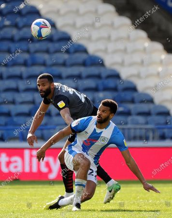 Stock Picture of Huddersfield's Fraizer Campbell battles with Rotherham United's Michael Ihiekwe