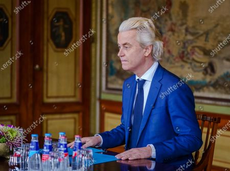 PVV party leader Geert Wilders is received in the Lower House by informateur Herman Tjeenk Willink (not pictured) in The Hague, The Netherlands, 09 April 2021. Tjeenk Willink receives the leaders of the nine largest parties, after it was the turn of the smaller parties a day earlier.