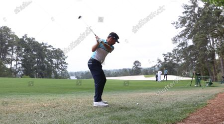 Louis Oosthuizen of South Africa hits along the second fairway during the second round of the 2021 Masters Tournament at the Augusta National Golf Club in Augusta, Georgia, USA, 09 April 2021. The 2021 Masters Tournament is held 08 April through 11 April 2021.