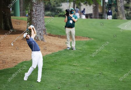 Sergio Garcia of Spain hits from off the fairway on the thirteenth hole during the second round of the 2021 Masters Tournament at the Augusta National Golf Club in Augusta, Georgia, USA, 09 April 2021. The 2021 Masters Tournament is held 08 April through 11 April 2021.