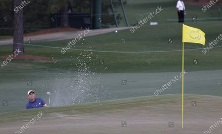 Sergio Garcia of Spain hits out of a bunker on the seventeenth hole during the second round of the 2021 Masters Tournament at the Augusta National Golf Club in Augusta, Georgia, USA, 09 April 2021. The 2021 Masters Tournament is held 08 April through 11 April 2021.