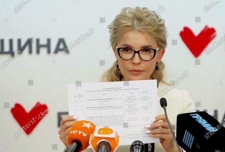 Batkivshchyna leader, MP Yulia Tymoshenko holds a news conference to announce that she initiates five nationwide referendums, Kyiv, capital of Ukraine.