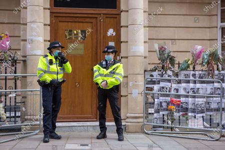 Police officers deployed to guard outside the Myanmar embassy in London. The ambassador in UK Kyaw Zwar Minn, was denied entry to the building on Charles Street in Mayfair on Wednesday night.