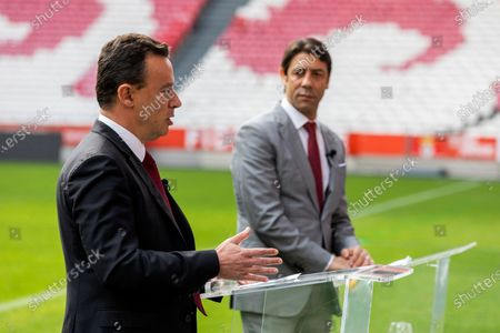 Stock Picture of Manuel Ramalho Eanes, Executive Board Member of NOS (L) and Rui Costa, Vice-President of SL Benfica (R) seen during a press conference at Estadio da Luz in Lisbon. The Estadio da Luz stadium, home of SL Benfica, is the first football stadium in Portugal to be equipped with 5G technology.