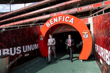 Stock Photo of Rui Costa, Vice-President of SL Benfica (L) and Manuel Ramalho Eanes, Executive Board Member of NOS (R) arrive for a press conference at Estadio da Luz in Lisbon. The Estadio da Luz stadium, home of SL Benfica, is the first football stadium in Portugal to be equipped with 5G technology.