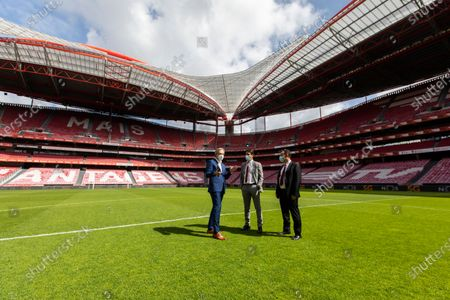 Stock Image of Pedro Pinto, the Chief Communications Officer of SL Benfica (L), Rui Costa, the Vice-President of SL Benfica (C) and Manuel Ramalho Eanes, the Executive Board Member of NOS (R) seen at Estadio da Luz, in Lisbon. The Estadio da Luz stadium, home of SL Benfica, is the first football stadium in Portugal to be equipped with 5G technology.