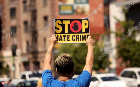 LOS ANGELES, CA - APRIL 8, 2021 - - A member of the Thai-American community makes his message known at a rally against Asian hate crimes in Thai Town in Los Angeles on April 8, 2021. They also gathered to show solidarity for the AAPI community. Los Angeles City Councilman Mitch O'Farrell and Los Angeles City Attorney Mike Feuer spoke against anti-Asian sentiment at the rally. (Genaro Molina / Los Angeles Times)