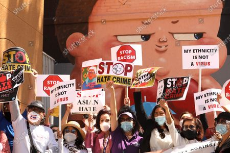 Editorial image of Thai Town community protest against anti-Asian violence - during the Coronavirus pandemic, Los Angeles, California, United States - 08 Apr 2021