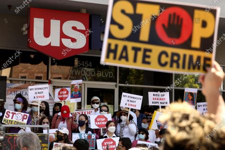Stock Picture of LOS ANGELES, CA - APRIL 8, 2021 - - Members of the Thai-American community along with political leaders and members of law enforcement participate in a rally against Asian hate crimes in Thai Town in Los Angeles on April 8, 2021. They also gathered to show solidarity for the AAPI community. Los Angeles City Councilman Mitch O'Farrell and Los Angeles City Attorney Mike Feuer spoke against anti-Asian sentiment at the rally. (Genaro Molina / Los Angeles Times)