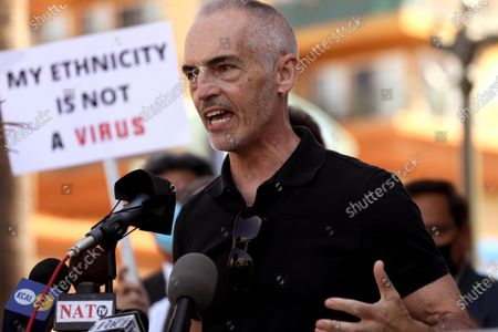 LOS ANGELES, CA - APRIL 8, 2021 - - Los Angeles City Councilman Mitch O'Farrell speaks to members of the Thai-American community at a rally against Asian hate crimes in Thai Town in Los Angeles on April 8, 2021. They also gathered to show solidarity for the AAPI community. (Genaro Molina / Los Angeles Times)