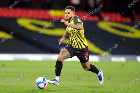 Stock Picture of Andre Gray (18) of Watford during the EFL Sky Bet Championship match between Watford and Reading at Vicarage Road, Watford