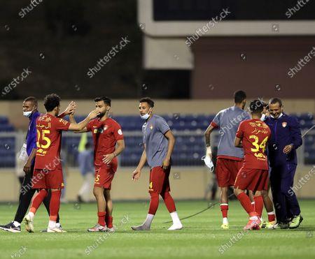Stock Picture of Damac's players celebrate after winning the Saudi Professional League soccer match between Damac and Al-Nassr at Prince Sultan bin Abdul Aziz Stadium, in Abha, Saudi Arabia, 09 April 2021.