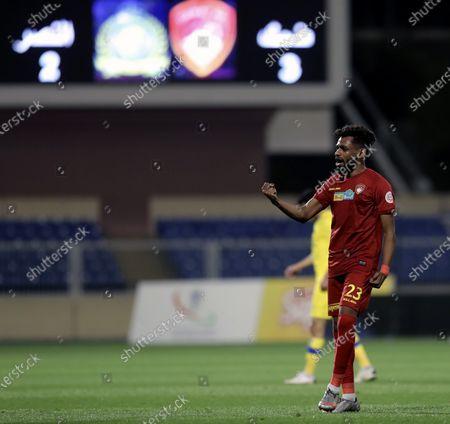 Stock Image of Damac's player Abdulaziz Majrashi celebrates after winning the Saudi Professional League soccer match between Damac and Al-Nassr at Prince Sultan bin Abdul Aziz Stadium, in Abha, Saudi Arabia, 09 April 2021.