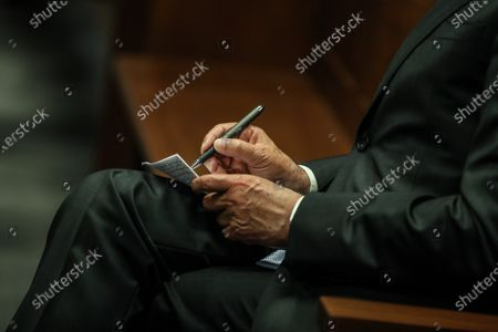The defendant and former Prime Minister Jose Socrates during the reading of the instructional decision of the high-profile corruption case known as Operation Marques, at the Justice Campus in Lisbon, Portugal, 09 April 2021. Operation Marques has 28 defendants - 19 people and 9 companies - including former Prime Minister Jose Socrates, banker Ricardo Salgado, businessman and friend of Socrates Carlos Santos Silva, and senior executives of Portugal Telecom, and is related to crimes of active and passive corruption, money laundering, document forgery, and tax fraud.