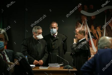 The prosecutor Rosario Teixeira (L), and judges Vitor Pinto (C) and Ivo Rosa during the instructional decision session of the high-profile corruption case known as Operation Marques, which involves the Portugal's former Prime Minister Jose Socrates,  at the Justice Campus in Lisbon, Portugal, 09 April 2021. Operation Marques has 28 defendants - 19 people and 9 companies - including former Prime Minister Jose Socrates, banker Ricardo Salgado, businessman and friend of Socrates Carlos Santos Silva, and senior executives of Portugal Telecom, and is related to crimes of active and passive corruption, money laundering, document forgery, and tax fraud.