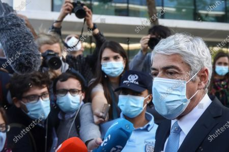 The defendant and former Prime Minister Jose Socrates talks to the press after the reading of the instructional decision of the high-profile corruption case known as Operation Marques, at the Justice Campus in Lisbon, Portugal, 09 April 2021. Operation Marques has 28 defendants - 19 people and 9 companies - including former Prime Minister Jose Socrates, banker Ricardo Salgado, businessman and friend of Socrates Carlos Santos Silva, and senior executives of Portugal Telecom, and is related to crimes of active and passive corruption, money laundering, document forgery, and tax fraud.