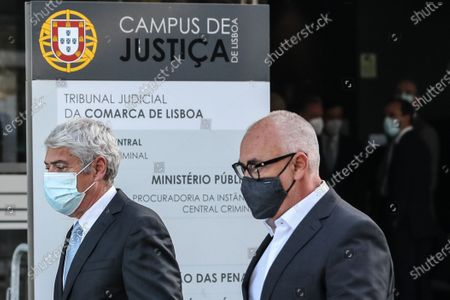 The defendant and former Prime Minister Jose Socrates (L) and his lawyer Pedro Delille (R) leave the court after the reading of the instructional decision of the high-profile corruption case known as Operation Marques, at the Justice Campus in Lisbon, Portugal, 09 April 2021. Operation Marques has 28 defendants - 19 people and 9 companies - including former Prime Minister Jose Socrates, banker Ricardo Salgado, businessman and friend of Socrates Carlos Santos Silva, and senior executives of Portugal Telecom, and is related to crimes of active and passive corruption, money laundering, document forgery, and tax fraud.