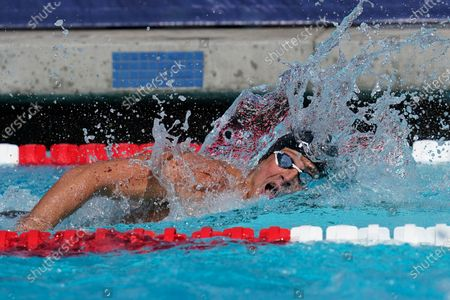Stock Image of Ryan Lochte competes in the men's 200-meter final at the TYR Pro Swim Series swim meet, in Mission Viejo, Calif