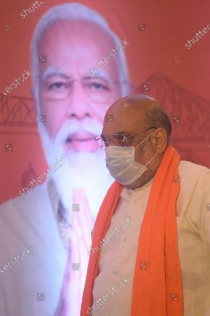 Union Home Minister and BJP leader Amit Shah at a media interaction on West Bengal Assembly Election 2021 and related issues, at Hotel Hindustan International on April 9, 2021 in Kolkata, India.