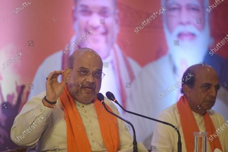 Union Home Minister and BJP leader Amit Shah interacts with media on West Bengal Assembly Election 2021 and related issues, at Hotel Hindustan International on April 9, 2021 in Kolkata, India.