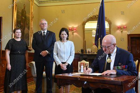Editorial image of Australian prime minister signs condolence book for late Prince Philip, Duke of Edinburgh, Canberra, Australia - 10 Apr 2021