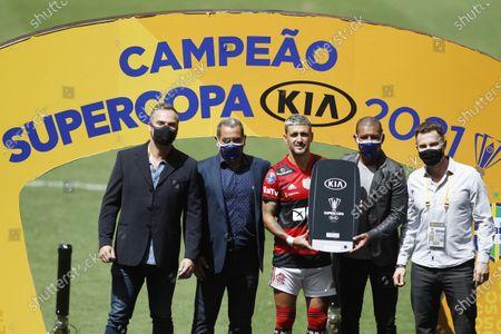 Stock Photo of Giorgian De Arrascaeta of Flamengo selected the best player of the match; Mane Garrincha Stadium, Brasilia, Brazil; Supercopa do Brazil Final, Flamengo versus Palmeiras.