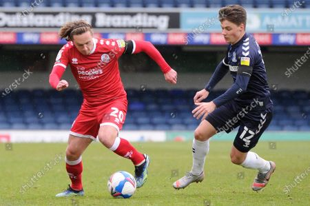 Tom Clifford of Southend United and Sam Matthews of Crawley Town in action during Sky Bet League Two match between Southend United and Crawley Town  at Roots Hall in Southend - 10th April 2021