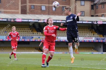 Jason Demetriou of Southend United and Sam Matthews of Crawley Town in action during Sky Bet League Two match between Southend United and Crawley Town  at Roots Hall in Southend - 10th April 2021
