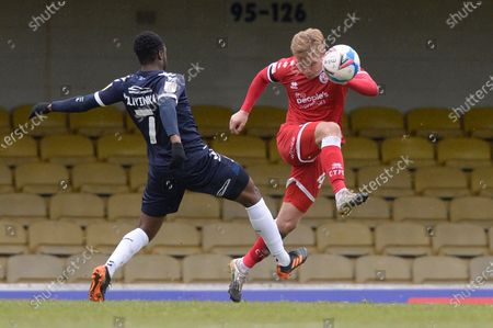 James Olayinka of Southend United and Josh Wright of Crawley Town in action during Sky Bet League Two match between Southend United and Crawley Town  at Roots Hall in Southend - 10th April 2021