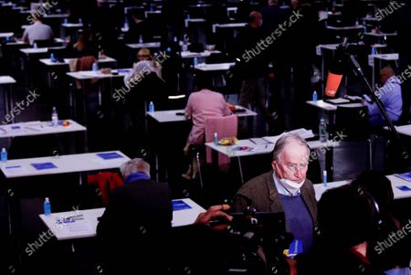 Stock Image of Alternative for Germany (AfD) faction co-leader Alexander Gauland (R) answers media questions during Germany's right-wing populist Alternative for Germany (AfD) party convention in Dresden, Germany, 10 April 2021. AfD party convention takes place from 10 to 11 April 2021.