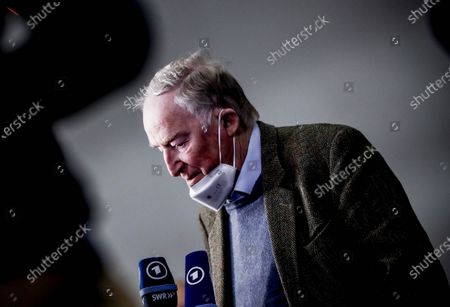 Alternative for Germany (AfD) faction co-leader Alexander Gauland answers media questions during Germany's right-wing populist Alternative for Germany (AfD) party convention in Dresden, Germany, 10 April 2021. AfD party convention takes place from 10 to 11 April 2021.