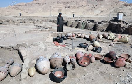 Artefacts which are part archeological discovery named the 'Lost Golden City' in Luxor, Egypt, 10 April 2021. Egyptian archaeologists have discovered a 3,000 years old city in Luxor. A mission under Dr. Zahi Hawass found the remains in excavation works that started in September 2020. The scientists believe the find dates back to the reign of Amenhotep III, and is thought to be used afterwards by Tutankhamun and Ay.