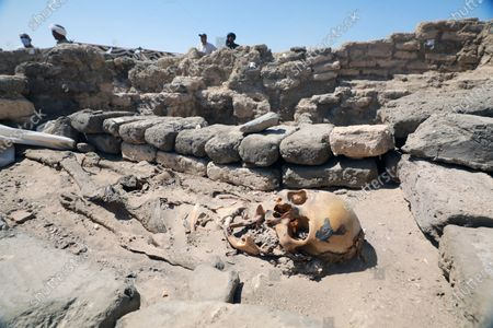 An archaeological find, part of the discovery named the 'Lost Golden City' in Luxor, Egypt, 10 April 2021. Egyptian archaeologists have discovered a 3,000 years old city in Luxor. A mission under Dr. Zahi Hawass found the remains in excavation works that started in September 2020. The scientists believe the find dates back to the reign of Amenhotep III, and is thought to be used afterwards by Tutankhamun and Ay.