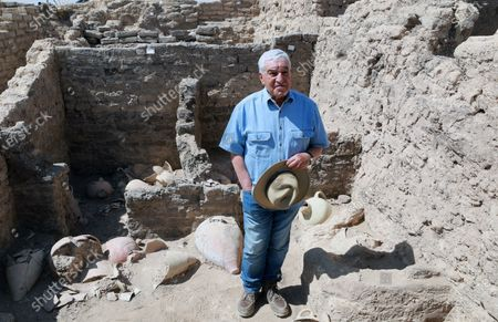 Dr. Zahi Hawass stands inside an archeological discovery named the 'Lost Golden City' in Luxor, Egypt,  10 April 2021. Egyptian archaeologists have discovered a 3,000 years old city in Luxor. A mission under Dr. Zahi Hawass found the remains in excavation works that started in September 2020. The scientists believe the find dates back to the reign of Amenhotep III, and is thought to be used afterwards by Tutankhamun and Ay.