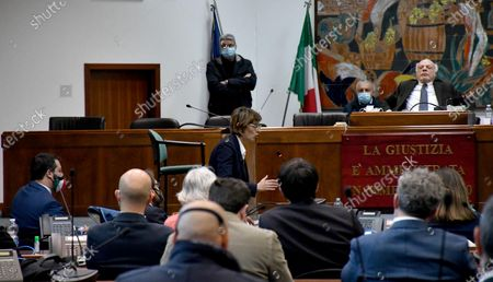 Giulia Bongiorno (C) lawyer of the accused delivers a speech during the preliminary hearing for the request of referral to trial for the Italy's League Party leader Matteo Salvini (L) that sees the former Italian Interior Minister accused for kidnapping of person for the delays in the landing of 131 migrants from the ship Gregoretti, happened in Augusta on July 2019, Catania, Italy, 10 April 2021.