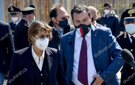 Italy's League Party leader Matteo Salvini (R), with his lawyer Giulia Bongiorno (L), leaves the bunker hall of the prison Bicocca at the end of the preliminary hearing for the request of referral to trial that sees the former Italian Interior Minister accused for kidnapping of person for the delays in the landing of 131 migrants from the ship Gregoretti, happened in Augusta on July 2019, Catania, Italy, 10 April 2021.