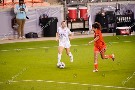 Chicago Red Stars forward Kealia Ohai Watt (2) brings the ball upfield during an NWSL Challenge Cup soccer match, in Houston