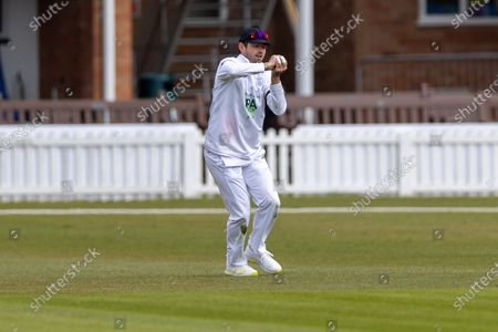 WICKET Ian Holland catches last man Alex Evans during Day 3 of the LV= Insurance County Championship match between Leicestershire County Cricket Club and Hampshire County Cricket Club at the Uptonsteel County Ground, Leicester